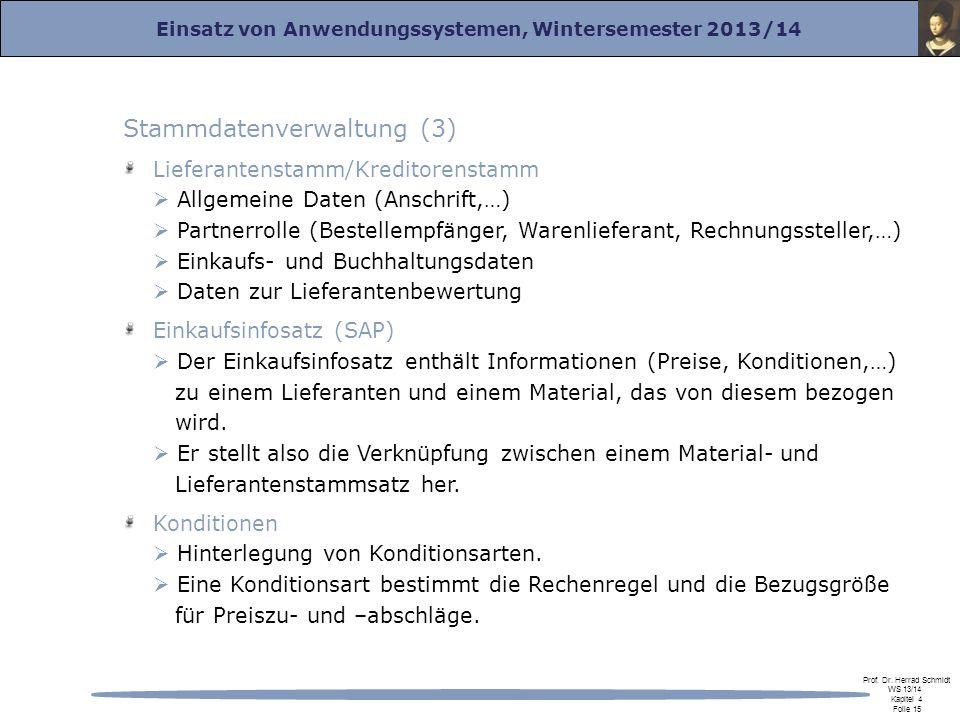 Einsatz von Anwendungssystemen, Wintersemester 2013/14 Prof. Dr. Herrad Schmidt WS 13/14 Kapitel 4 Folie 15 Stammdatenverwaltung (3) Lieferantenstamm/