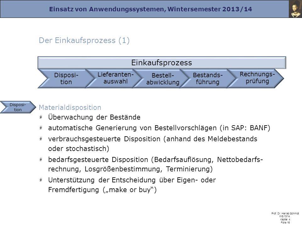 Einsatz von Anwendungssystemen, Wintersemester 2013/14 Prof. Dr. Herrad Schmidt WS 13/14 Kapitel 4 Folie 16 Der Einkaufsprozess (1) Disposi- tion Eink