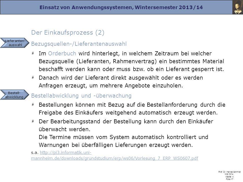 Einsatz von Anwendungssystemen, Wintersemester 2013/14 Prof. Dr. Herrad Schmidt WS 13/14 Kapitel 4 Folie 17 Der Einkaufsprozess (2) Bezugsquellen-/Lie