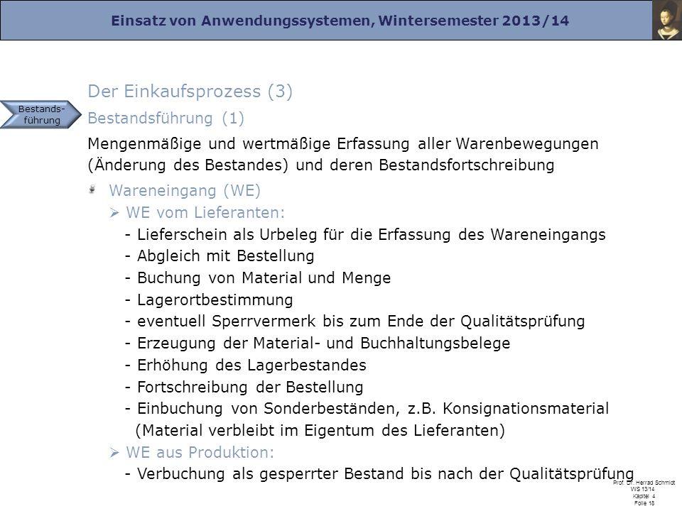 Einsatz von Anwendungssystemen, Wintersemester 2013/14 Prof. Dr. Herrad Schmidt WS 13/14 Kapitel 4 Folie 18 Der Einkaufsprozess (3) Bestandsführung (1