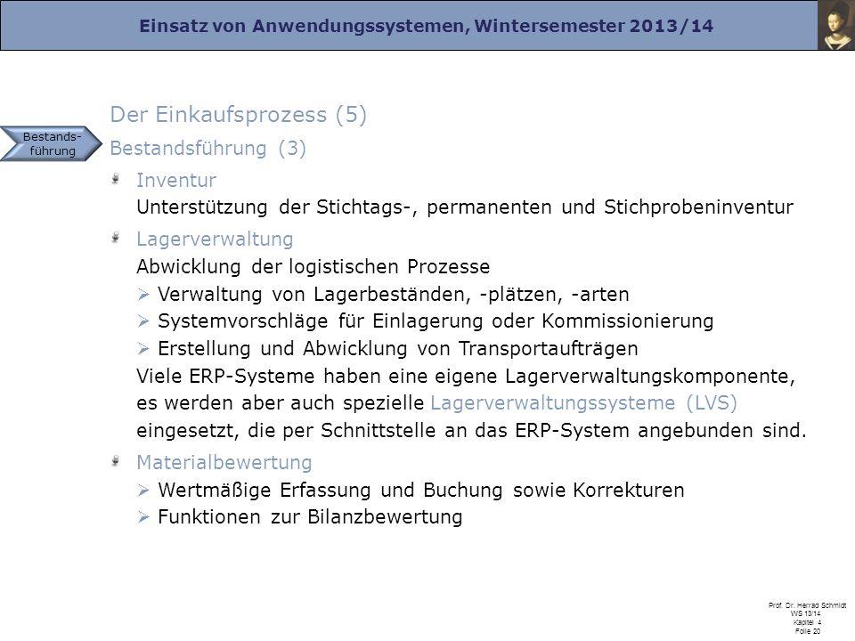 Einsatz von Anwendungssystemen, Wintersemester 2013/14 Prof. Dr. Herrad Schmidt WS 13/14 Kapitel 4 Folie 20 Der Einkaufsprozess (5) Bestandsführung (3