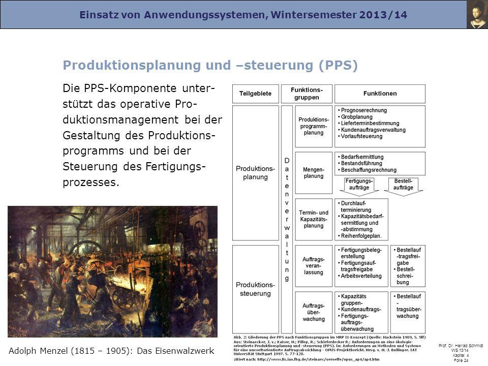 Einsatz von Anwendungssystemen, Wintersemester 2013/14 Prof. Dr. Herrad Schmidt WS 13/14 Kapitel 4 Folie 24 Produktionsplanung und –steuerung (PPS) Di