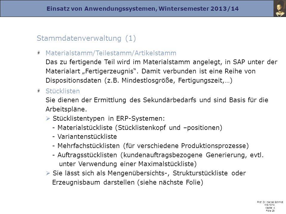 Einsatz von Anwendungssystemen, Wintersemester 2013/14 Prof. Dr. Herrad Schmidt WS 13/14 Kapitel 4 Folie 25 Stammdatenverwaltung (1) Materialstamm/Tei