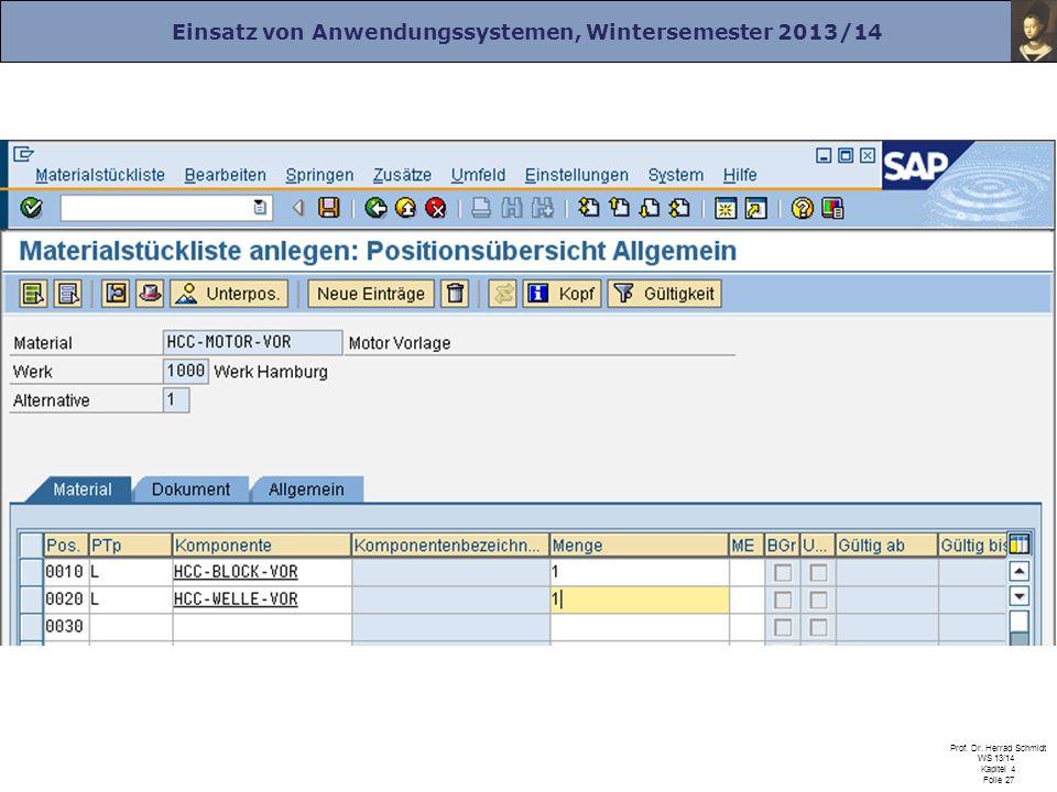 Einsatz von Anwendungssystemen, Wintersemester 2013/14 Prof. Dr. Herrad Schmidt WS 13/14 Kapitel 4 Folie 27