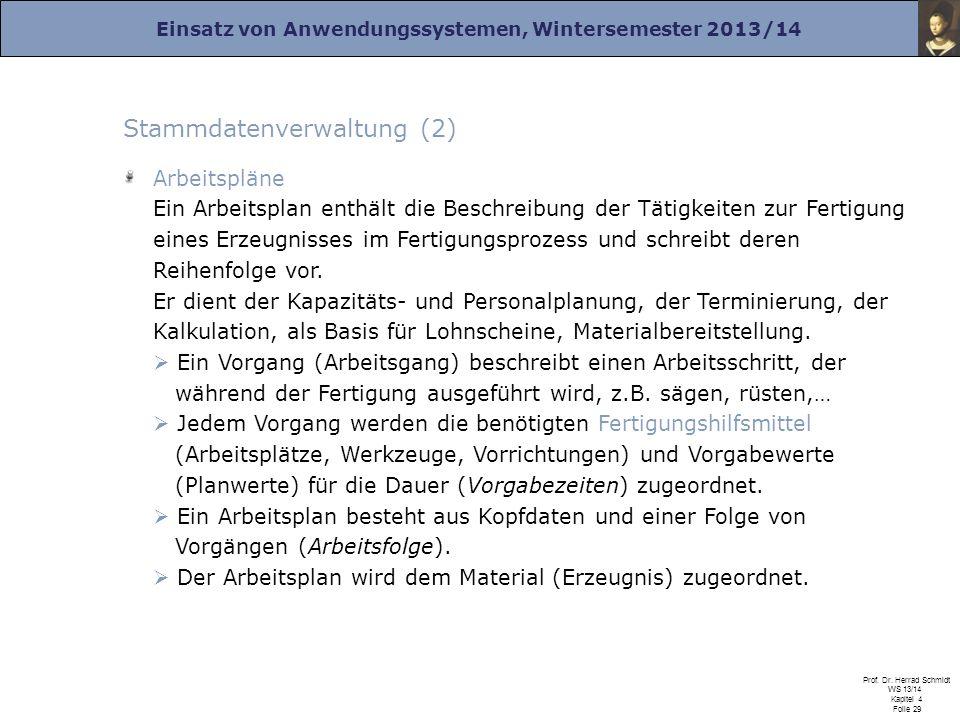 Einsatz von Anwendungssystemen, Wintersemester 2013/14 Prof. Dr. Herrad Schmidt WS 13/14 Kapitel 4 Folie 29 Stammdatenverwaltung (2) Arbeitspläne Ein