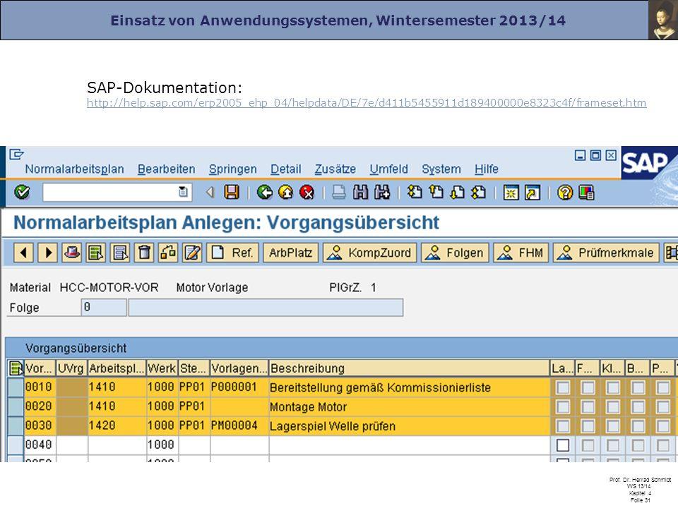 Einsatz von Anwendungssystemen, Wintersemester 2013/14 Prof. Dr. Herrad Schmidt WS 13/14 Kapitel 4 Folie 31 SAP-Dokumentation: http://help.sap.com/erp