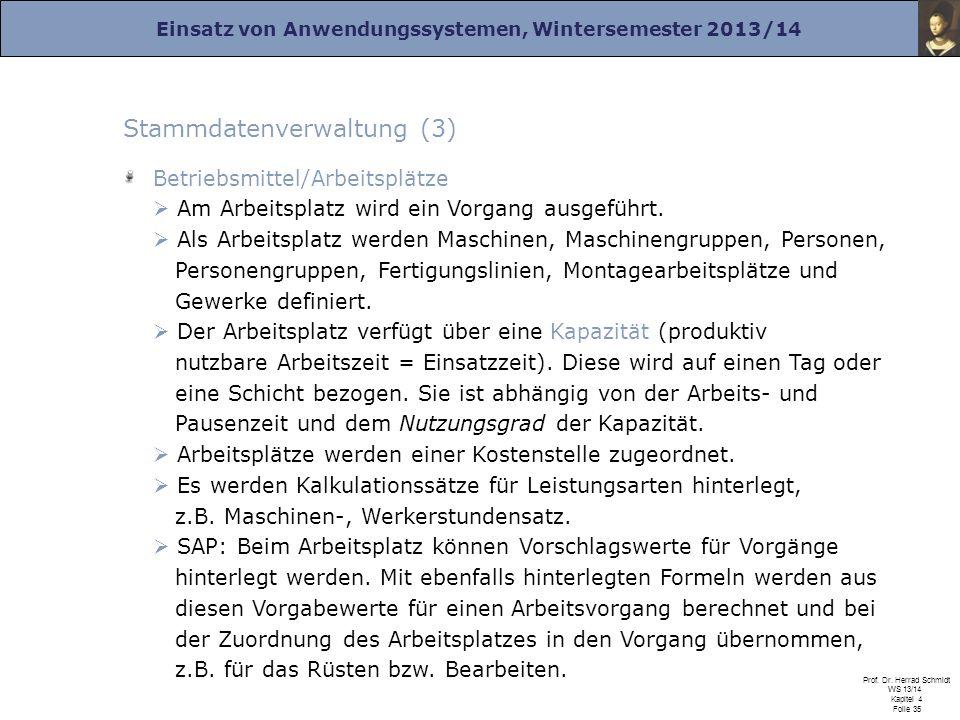Einsatz von Anwendungssystemen, Wintersemester 2013/14 Prof. Dr. Herrad Schmidt WS 13/14 Kapitel 4 Folie 35 Stammdatenverwaltung (3) Betriebsmittel/Ar