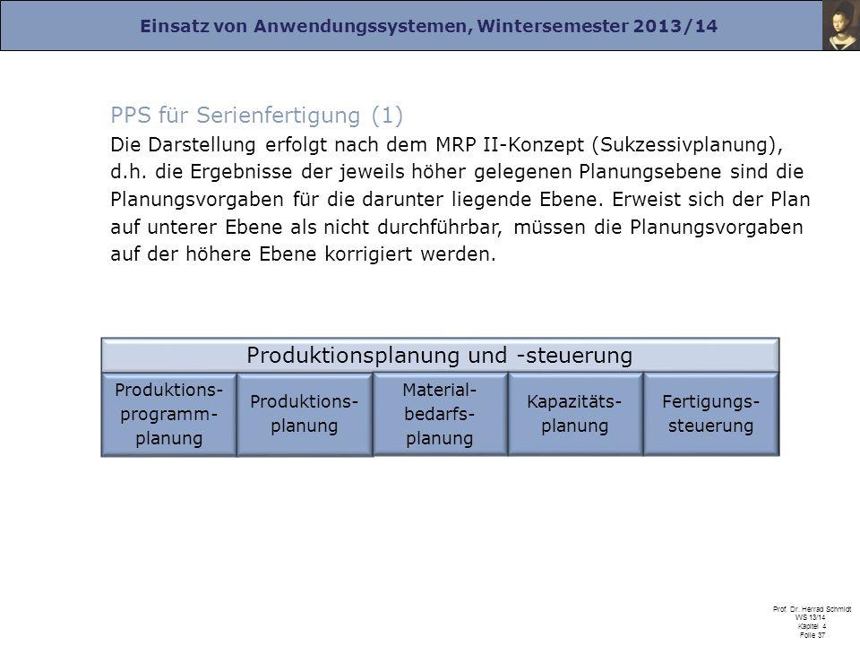 Einsatz von Anwendungssystemen, Wintersemester 2013/14 Prof. Dr. Herrad Schmidt WS 13/14 Kapitel 4 Folie 37 PPS für Serienfertigung (1) Die Darstellun