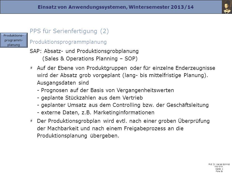 Einsatz von Anwendungssystemen, Wintersemester 2013/14 Prof. Dr. Herrad Schmidt WS 13/14 Kapitel 4 Folie 38 PPS für Serienfertigung (2) Produktionspro