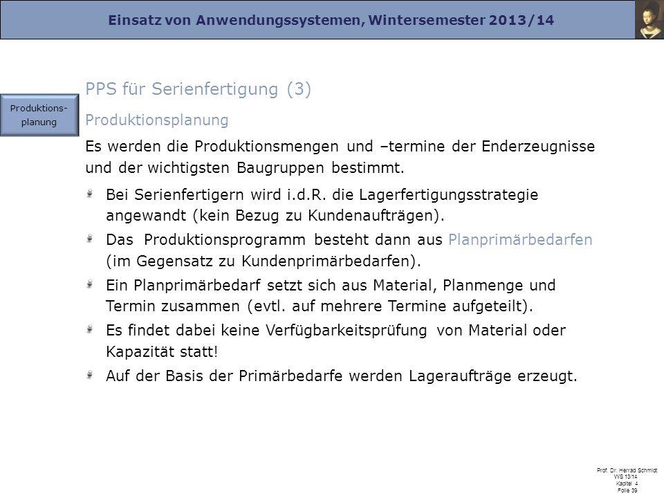 Einsatz von Anwendungssystemen, Wintersemester 2013/14 Prof. Dr. Herrad Schmidt WS 13/14 Kapitel 4 Folie 39 PPS für Serienfertigung (3) Produktionspla