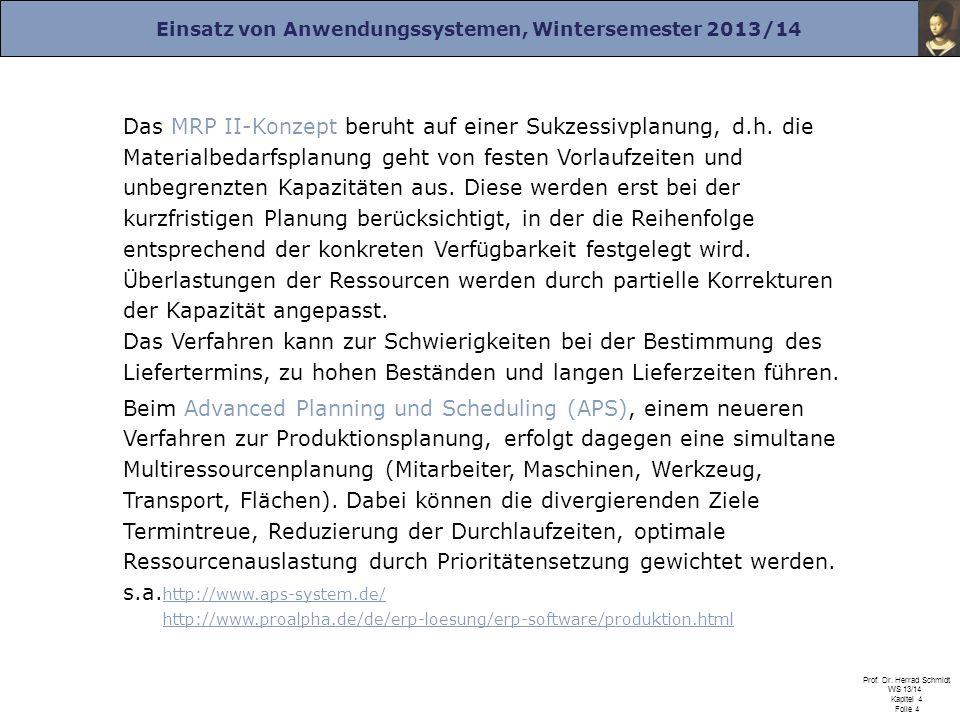 Einsatz von Anwendungssystemen, Wintersemester 2013/14 Prof. Dr. Herrad Schmidt WS 13/14 Kapitel 4 Folie 4 Das MRP II-Konzept beruht auf einer Sukzess