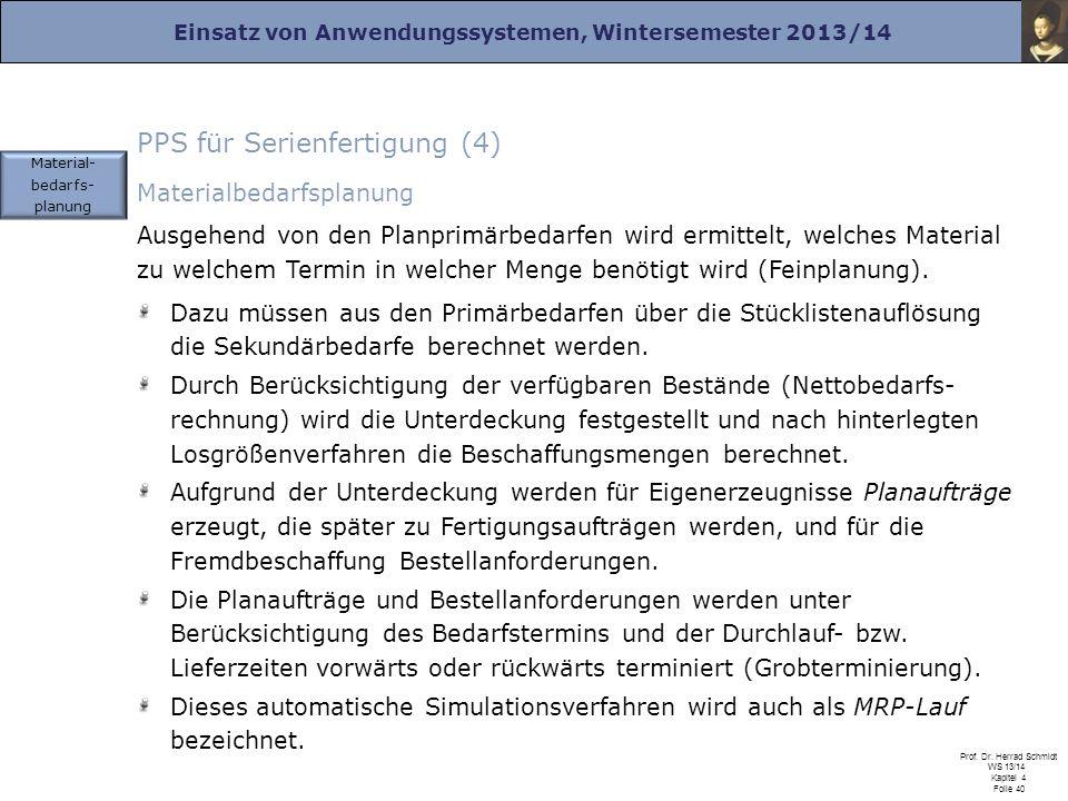 Einsatz von Anwendungssystemen, Wintersemester 2013/14 Prof. Dr. Herrad Schmidt WS 13/14 Kapitel 4 Folie 40 PPS für Serienfertigung (4) Materialbedarf