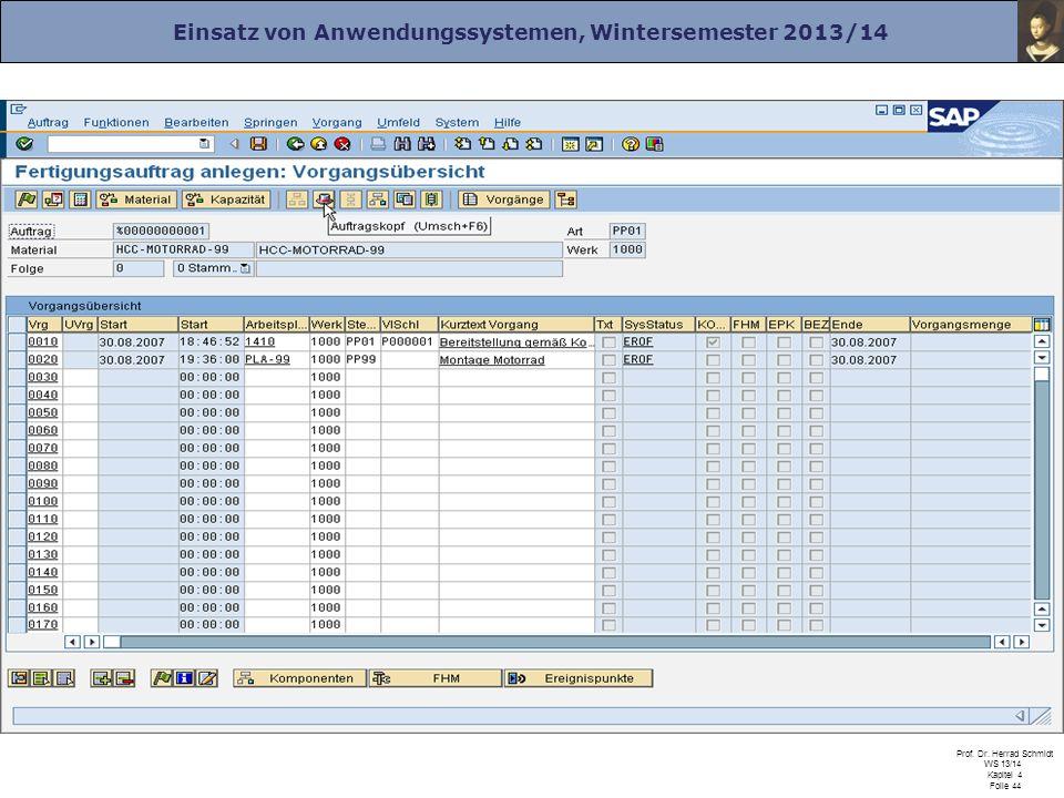 Einsatz von Anwendungssystemen, Wintersemester 2013/14 Prof. Dr. Herrad Schmidt WS 13/14 Kapitel 4 Folie 44