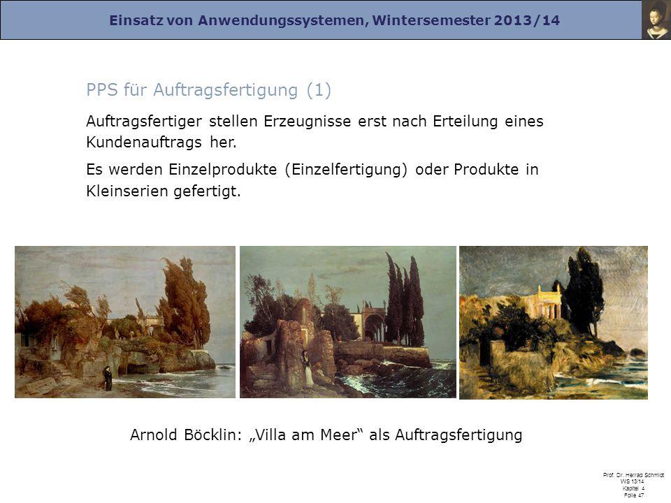 Einsatz von Anwendungssystemen, Wintersemester 2013/14 Prof. Dr. Herrad Schmidt WS 13/14 Kapitel 4 Folie 47 PPS für Auftragsfertigung (1) Auftragsfert