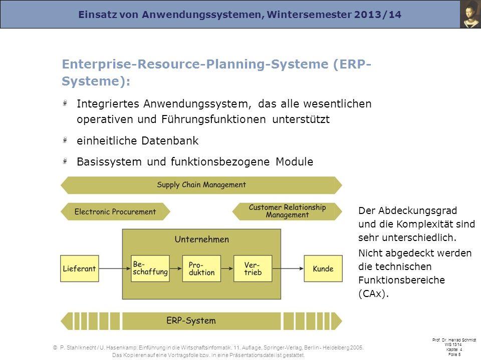 Einsatz von Anwendungssystemen, Wintersemester 2013/14 Prof. Dr. Herrad Schmidt WS 13/14 Kapitel 4 Folie 5 Enterprise-Resource-Planning-Systeme (ERP-