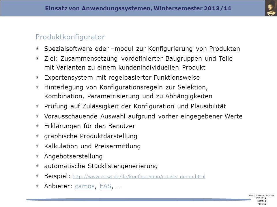 Einsatz von Anwendungssystemen, Wintersemester 2013/14 Prof. Dr. Herrad Schmidt WS 13/14 Kapitel 4 Folie 52 Produktkonfigurator Spezialsoftware oder –