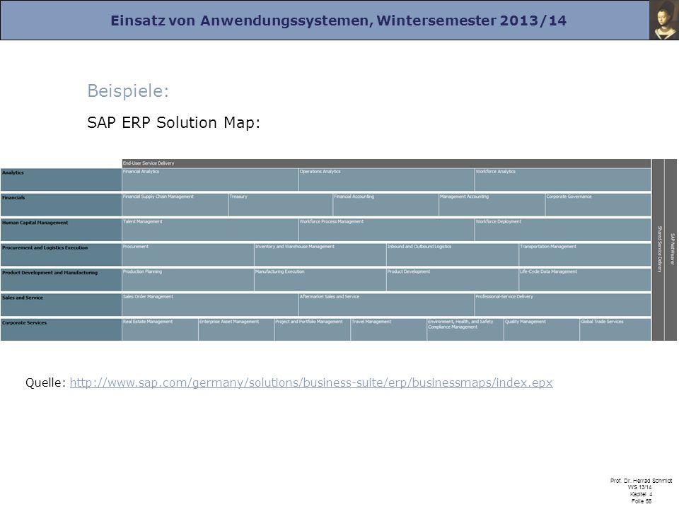 Einsatz von Anwendungssystemen, Wintersemester 2013/14 Prof. Dr. Herrad Schmidt WS 13/14 Kapitel 4 Folie 56 Beispiele: SAP ERP Solution Map: Quelle: h