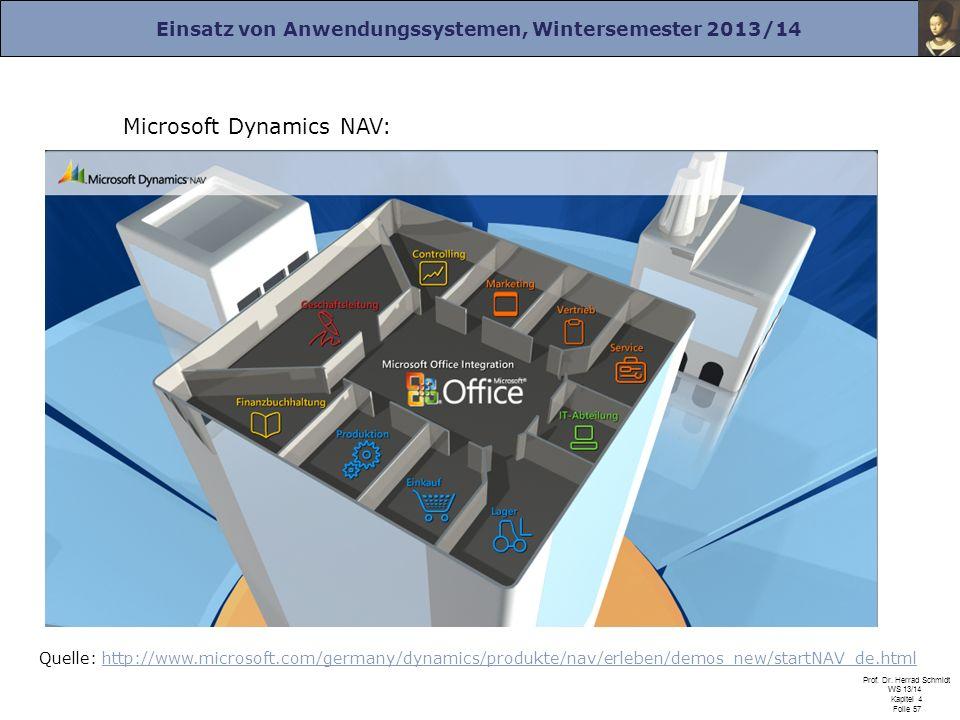 Einsatz von Anwendungssystemen, Wintersemester 2013/14 Prof. Dr. Herrad Schmidt WS 13/14 Kapitel 4 Folie 57 Microsoft Dynamics NAV: Quelle: http://www