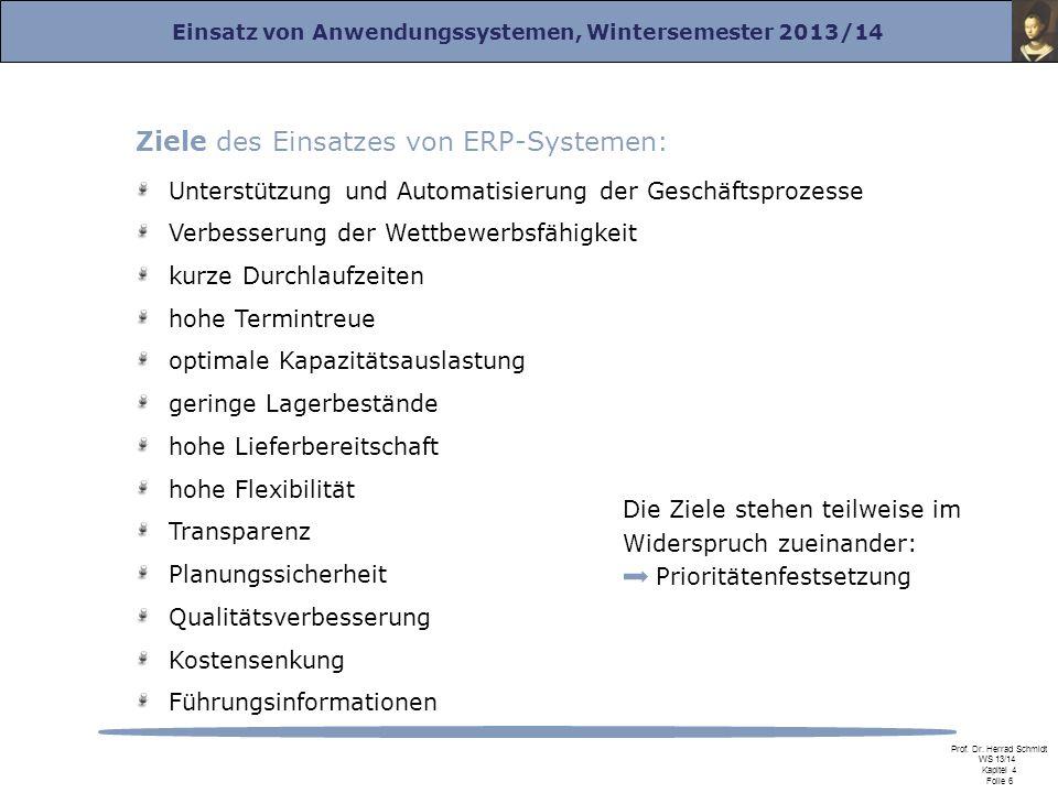 Einsatz von Anwendungssystemen, Wintersemester 2013/14 Prof. Dr. Herrad Schmidt WS 13/14 Kapitel 4 Folie 6 Die Ziele stehen teilweise im Widerspruch z