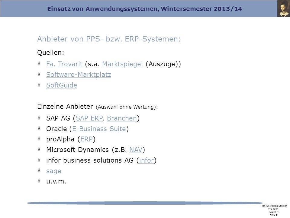 Einsatz von Anwendungssystemen, Wintersemester 2013/14 Prof. Dr. Herrad Schmidt WS 13/14 Kapitel 4 Folie 61 Anbieter von PPS- bzw. ERP-Systemen: Quell