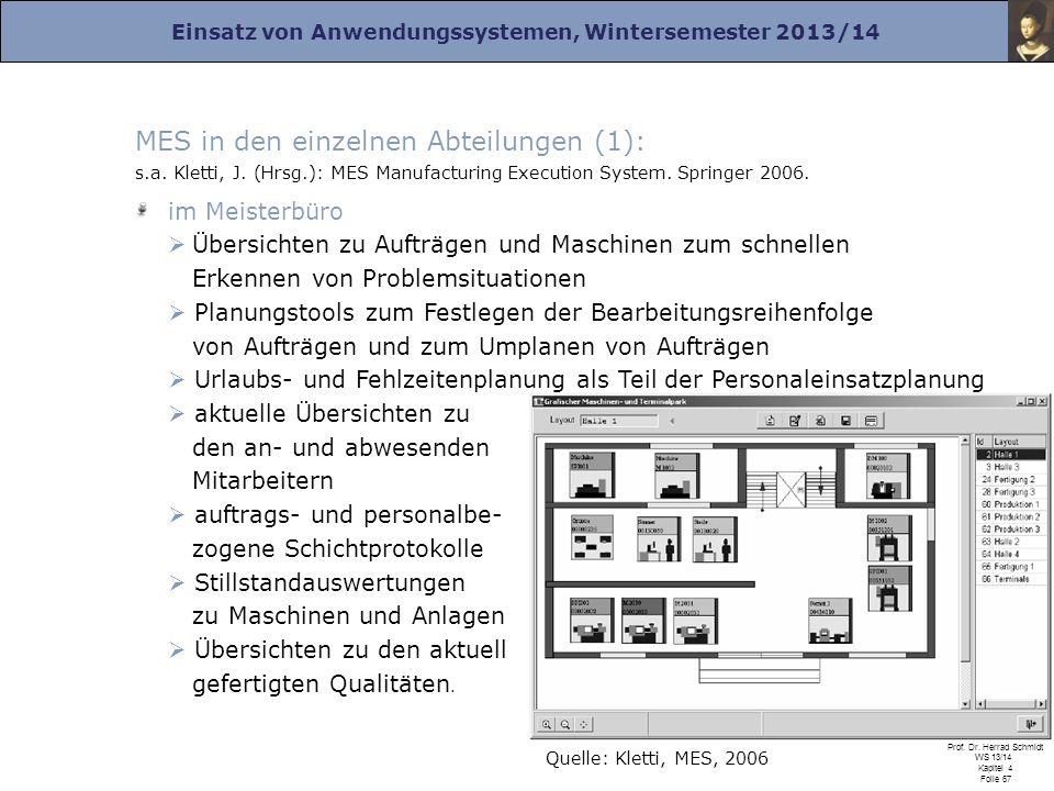 Einsatz von Anwendungssystemen, Wintersemester 2013/14 Prof. Dr. Herrad Schmidt WS 13/14 Kapitel 4 Folie 67 MES in den einzelnen Abteilungen (1): s.a.