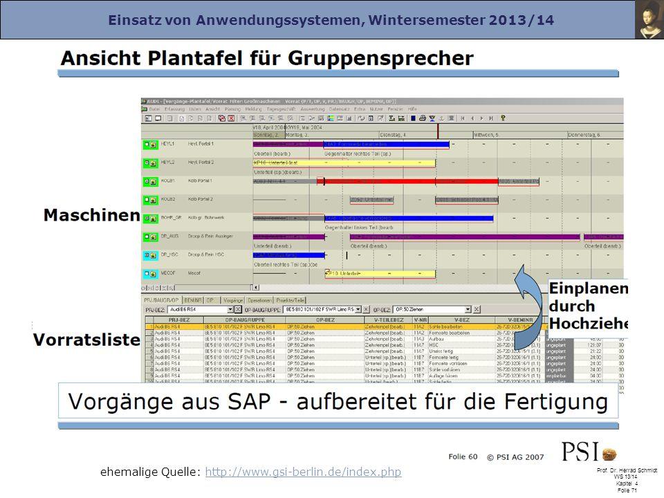 Einsatz von Anwendungssystemen, Wintersemester 2013/14 Prof. Dr. Herrad Schmidt WS 13/14 Kapitel 4 Folie 71 ehemalige Quelle: http://www.gsi-berlin.de