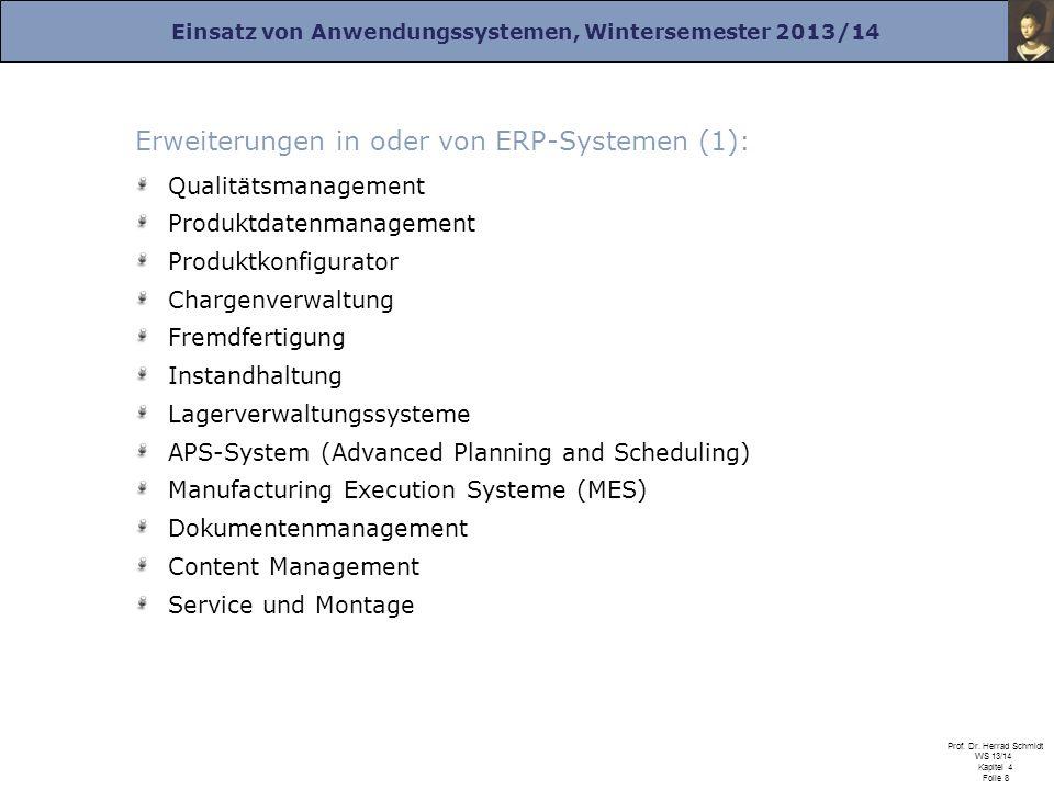 Einsatz von Anwendungssystemen, Wintersemester 2013/14 Prof. Dr. Herrad Schmidt WS 13/14 Kapitel 4 Folie 8 Erweiterungen in oder von ERP-Systemen (1):