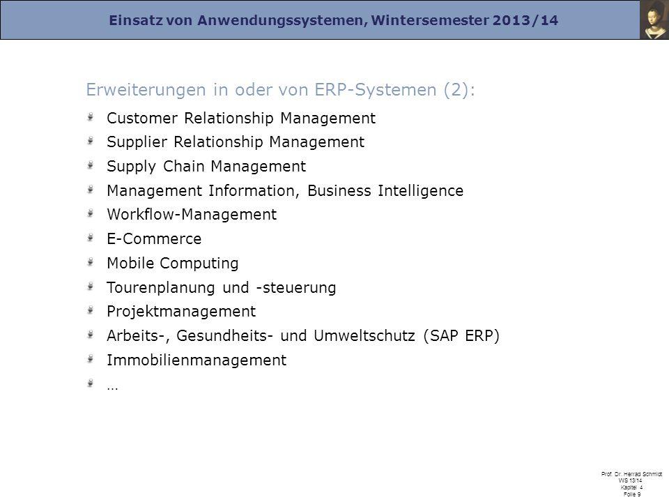 Einsatz von Anwendungssystemen, Wintersemester 2013/14 Prof. Dr. Herrad Schmidt WS 13/14 Kapitel 4 Folie 9 Erweiterungen in oder von ERP-Systemen (2):