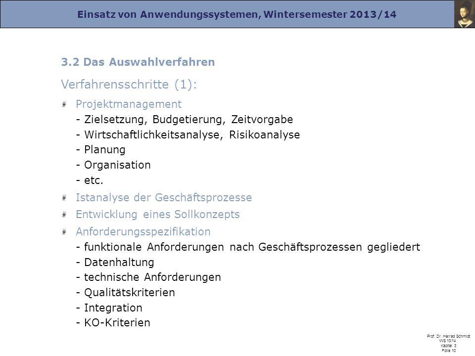 Einsatz von Anwendungssystemen, Wintersemester 2013/14 Prof. Dr. Herrad Schmidt WS 13/14 Kapitel 3 Folie 10 3.2 Das Auswahlverfahren Verfahrensschritt