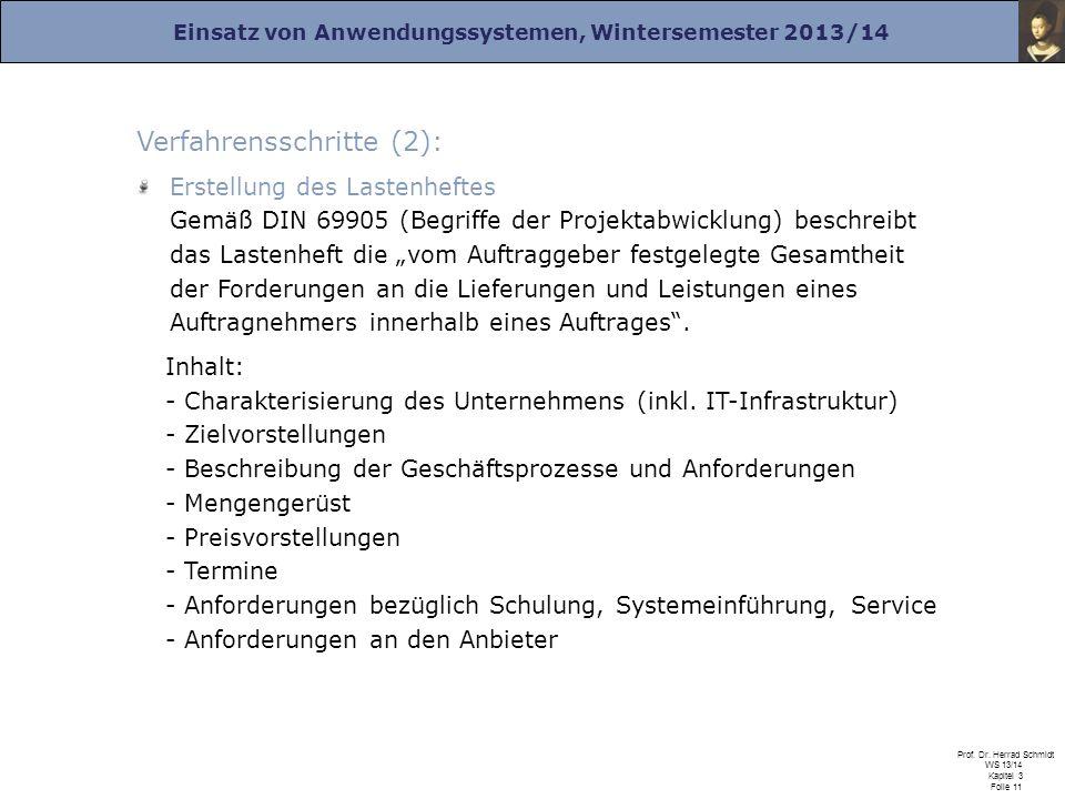 Einsatz von Anwendungssystemen, Wintersemester 2013/14 Prof. Dr. Herrad Schmidt WS 13/14 Kapitel 3 Folie 11 Verfahrensschritte (2): Erstellung des Las
