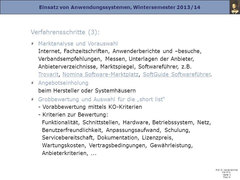 Einsatz von Anwendungssystemen, Wintersemester 2013/14 Prof. Dr. Herrad Schmidt WS 13/14 Kapitel 3 Folie 13 Verfahrensschritte (3): Marktanalyse und V