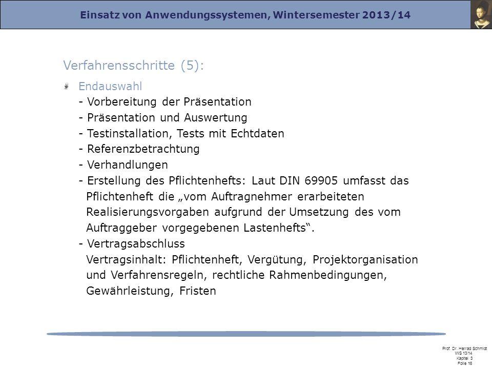 Einsatz von Anwendungssystemen, Wintersemester 2013/14 Prof. Dr. Herrad Schmidt WS 13/14 Kapitel 3 Folie 16 Verfahrensschritte (5): Endauswahl - Vorbe