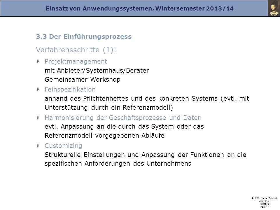 Einsatz von Anwendungssystemen, Wintersemester 2013/14 Prof. Dr. Herrad Schmidt WS 13/14 Kapitel 3 Folie 17 3.3 Der Einführungsprozess Verfahrensschri