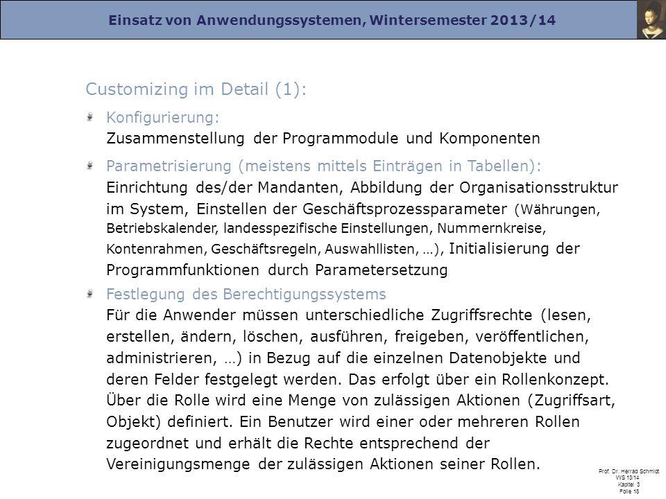 Einsatz von Anwendungssystemen, Wintersemester 2013/14 Prof. Dr. Herrad Schmidt WS 13/14 Kapitel 3 Folie 18 Customizing im Detail (1): Konfigurierung: