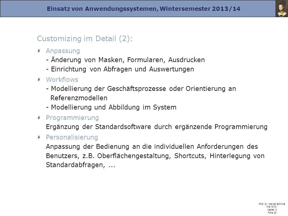 Einsatz von Anwendungssystemen, Wintersemester 2013/14 Prof. Dr. Herrad Schmidt WS 13/14 Kapitel 3 Folie 20 Customizing im Detail (2): Anpassung - Änd