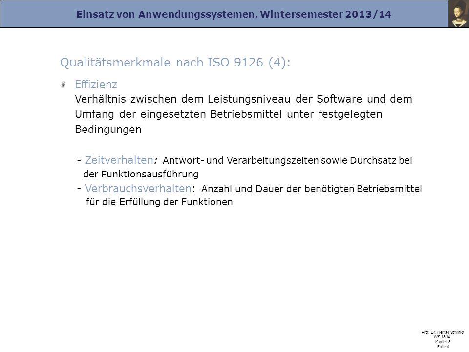 Einsatz von Anwendungssystemen, Wintersemester 2013/14 Prof. Dr. Herrad Schmidt WS 13/14 Kapitel 3 Folie 6 Qualitätsmerkmale nach ISO 9126 (4): Effizi