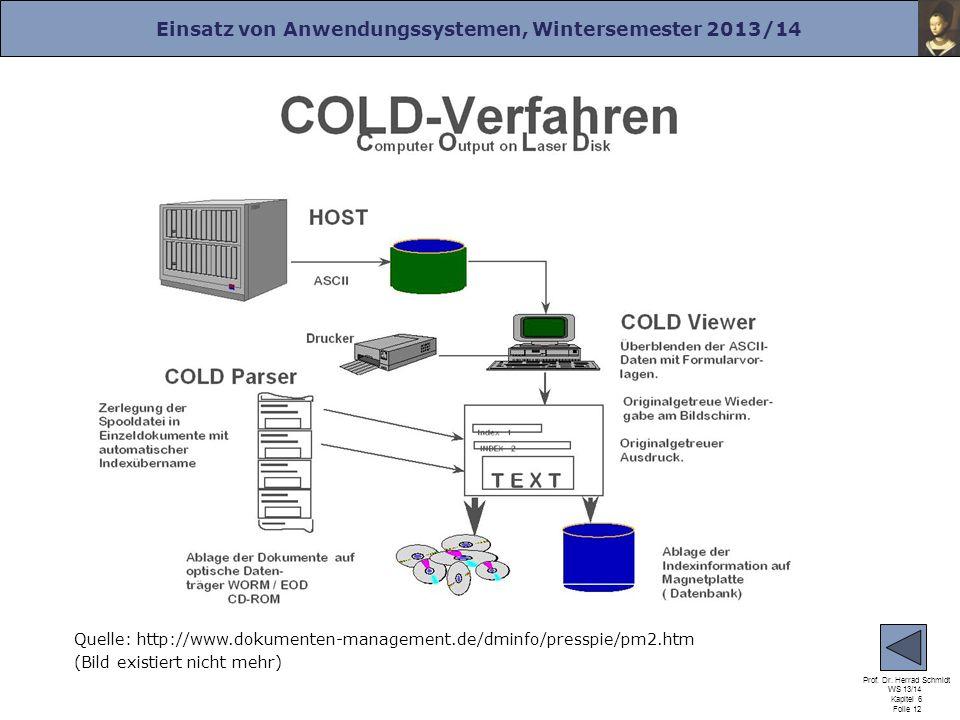 Einsatz von Anwendungssystemen, Wintersemester 2013/14 Prof. Dr. Herrad Schmidt WS 13/14 Kapitel 6 Folie 12 Quelle: http://www.dokumenten-management.d