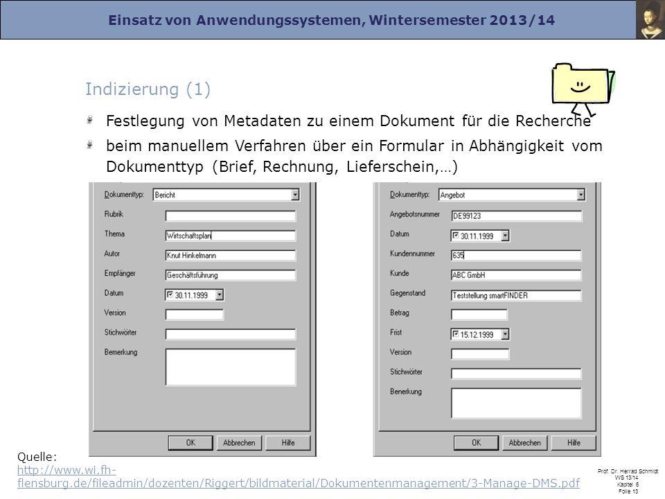 Einsatz von Anwendungssystemen, Wintersemester 2013/14 Prof. Dr. Herrad Schmidt WS 13/14 Kapitel 6 Folie 13 Indizierung (1) Festlegung von Metadaten z