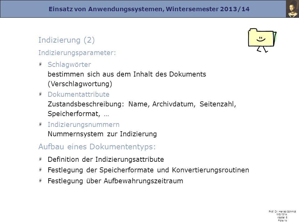 Einsatz von Anwendungssystemen, Wintersemester 2013/14 Prof. Dr. Herrad Schmidt WS 13/14 Kapitel 6 Folie 14 Indizierung (2) Indizierungsparameter: Sch