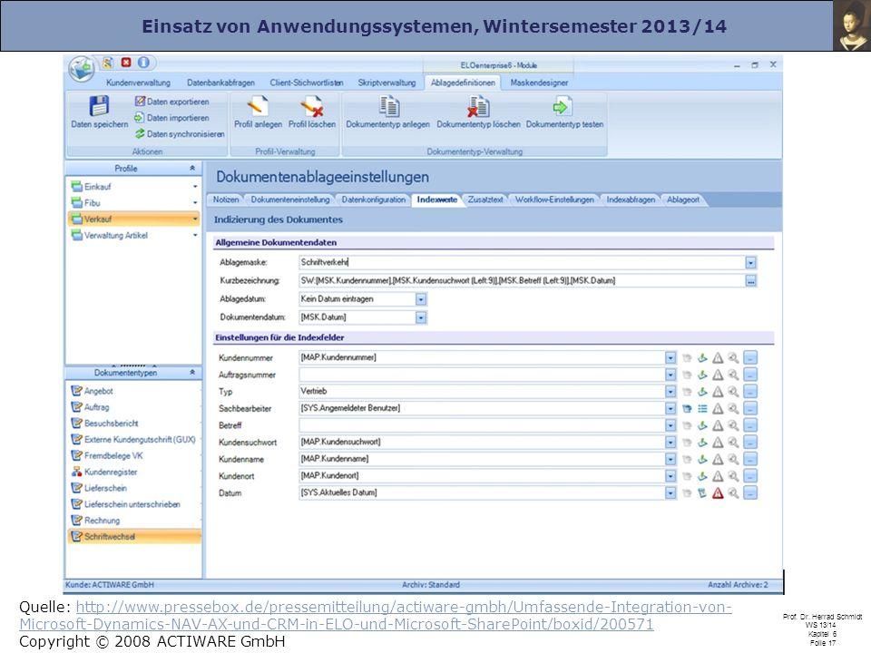 Einsatz von Anwendungssystemen, Wintersemester 2013/14 Prof. Dr. Herrad Schmidt WS 13/14 Kapitel 6 Folie 17 Quelle: http://www.pressebox.de/pressemitt
