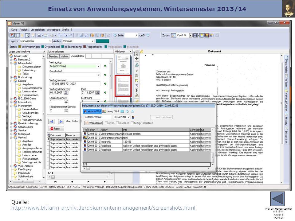 Einsatz von Anwendungssystemen, Wintersemester 2013/14 Prof. Dr. Herrad Schmidt WS 13/14 Kapitel 6 Folie 24 Quelle: http://www.bitfarm-archiv.de/dokum