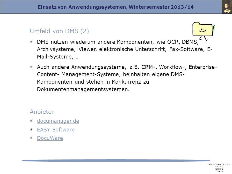 Einsatz von Anwendungssystemen, Wintersemester 2013/14 Prof. Dr. Herrad Schmidt WS 13/14 Kapitel 6 Folie 26 Umfeld von DMS (2) DMS nutzen wiederum and