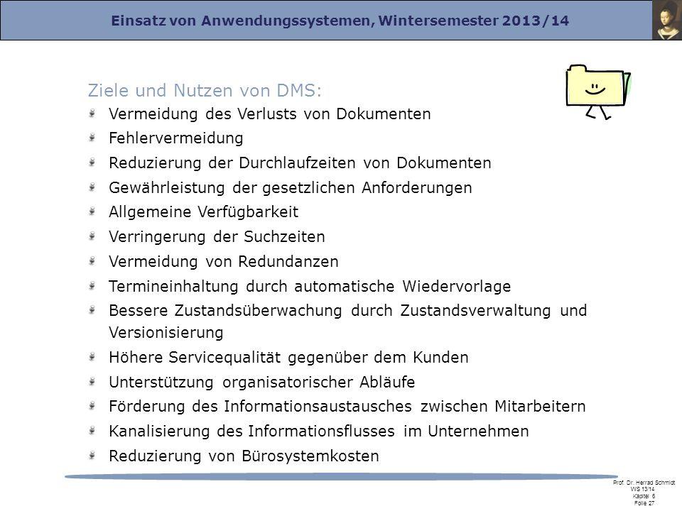 Einsatz von Anwendungssystemen, Wintersemester 2013/14 Prof. Dr. Herrad Schmidt WS 13/14 Kapitel 6 Folie 27 Ziele und Nutzen von DMS: Vermeidung des V