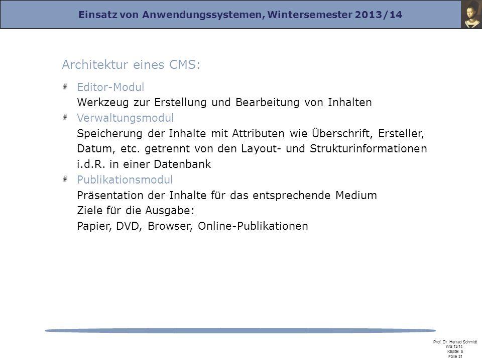 Einsatz von Anwendungssystemen, Wintersemester 2013/14 Prof. Dr. Herrad Schmidt WS 13/14 Kapitel 6 Folie 31 Architektur eines CMS: Editor-Modul Werkze