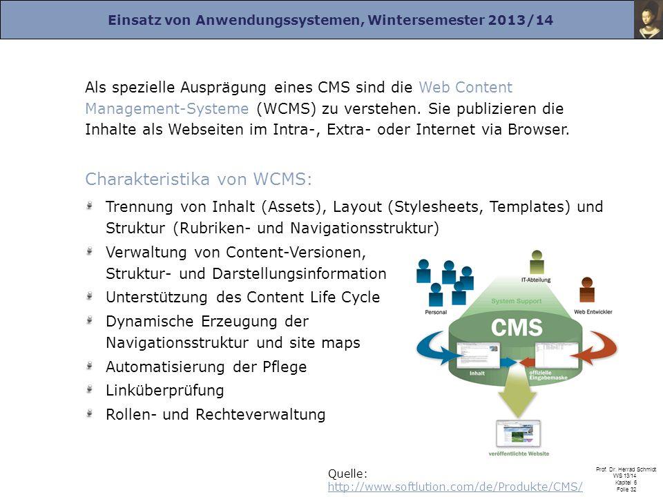 Einsatz von Anwendungssystemen, Wintersemester 2013/14 Prof. Dr. Herrad Schmidt WS 13/14 Kapitel 6 Folie 32 Als spezielle Ausprägung eines CMS sind di