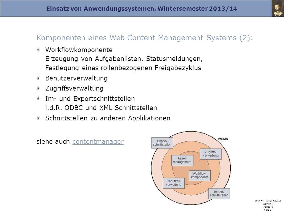 Einsatz von Anwendungssystemen, Wintersemester 2013/14 Prof. Dr. Herrad Schmidt WS 13/14 Kapitel 6 Folie 37 Komponenten eines Web Content Management S