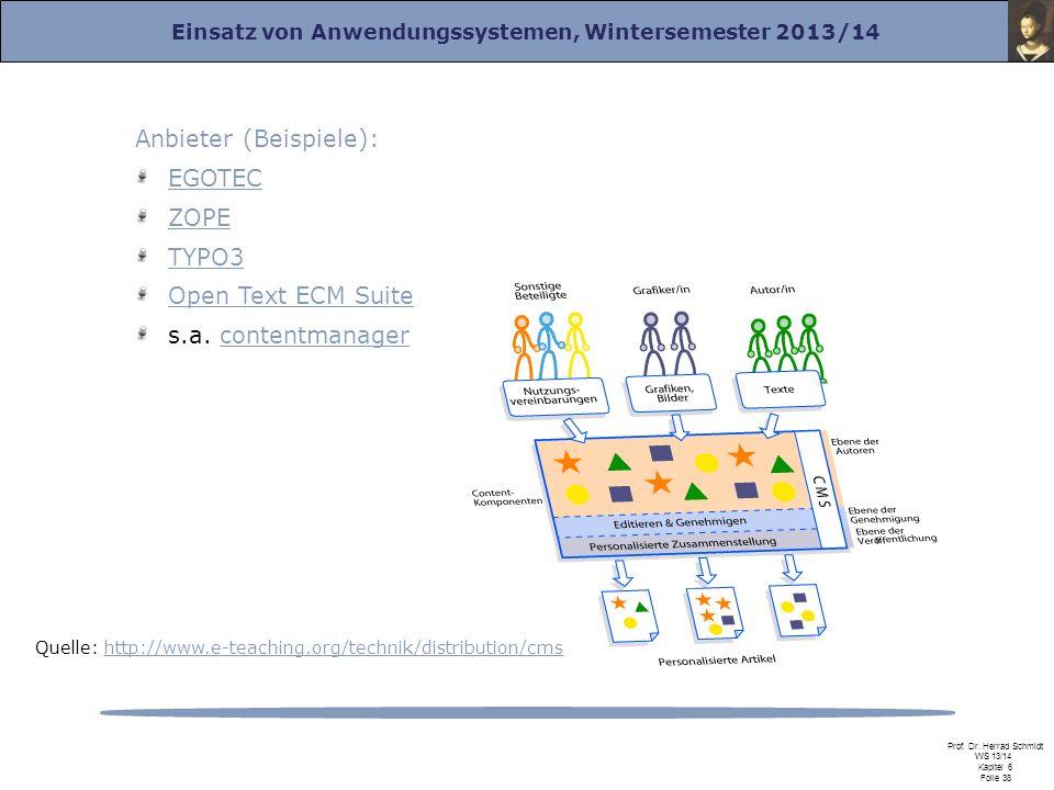 Einsatz von Anwendungssystemen, Wintersemester 2013/14 Prof. Dr. Herrad Schmidt WS 13/14 Kapitel 6 Folie 38 Anbieter (Beispiele): EGOTEC ZOPE TYPO3 Op