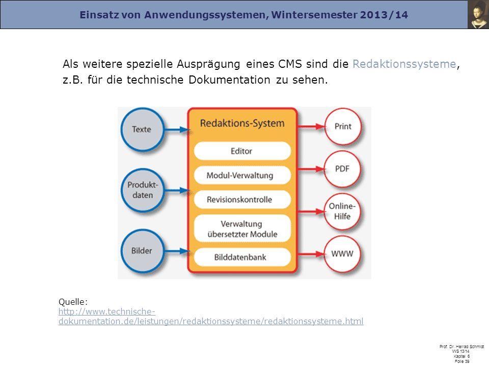 Einsatz von Anwendungssystemen, Wintersemester 2013/14 Prof. Dr. Herrad Schmidt WS 13/14 Kapitel 6 Folie 39 Als weitere spezielle Ausprägung eines CMS