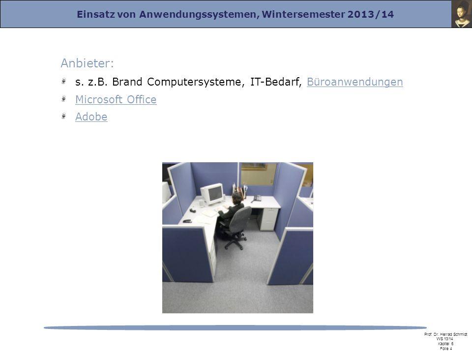 Einsatz von Anwendungssystemen, Wintersemester 2013/14 Prof. Dr. Herrad Schmidt WS 13/14 Kapitel 6 Folie 4 Anbieter: s. z.B. Brand Computersysteme, IT