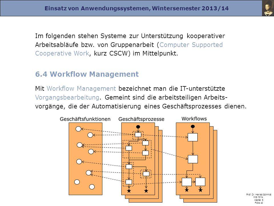 Einsatz von Anwendungssystemen, Wintersemester 2013/14 Prof. Dr. Herrad Schmidt WS 13/14 Kapitel 6 Folie 40 Im folgenden stehen Systeme zur Unterstütz